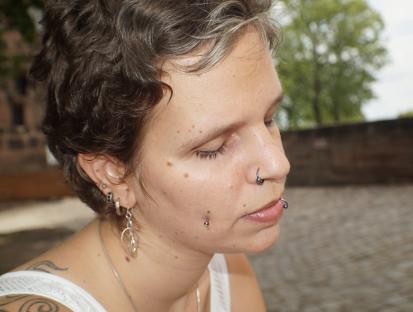 half profile of a woman